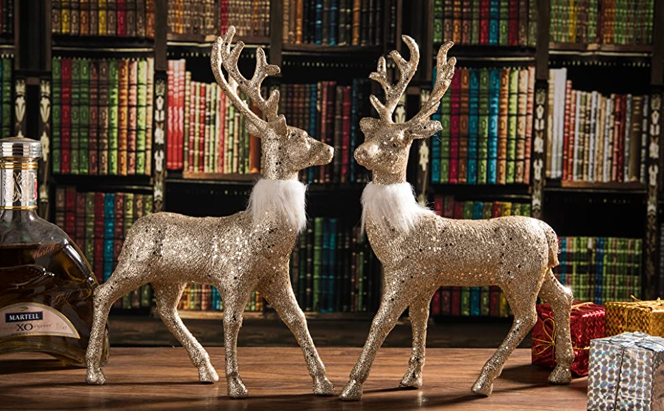 "Christmas Champagne Gold Standing Deer w Wreath 9/""x5/""  Free Ship"