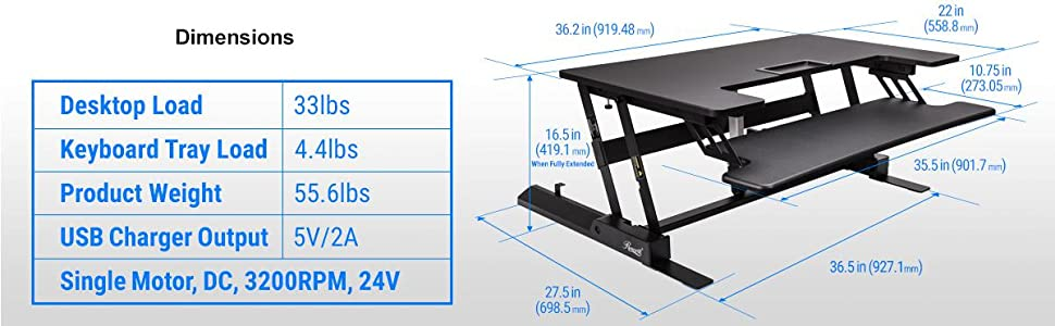 Rosewill Height Adjustable Sit/Stand Desk Computer Riser RDR10, Built-in USB port, Durable construct