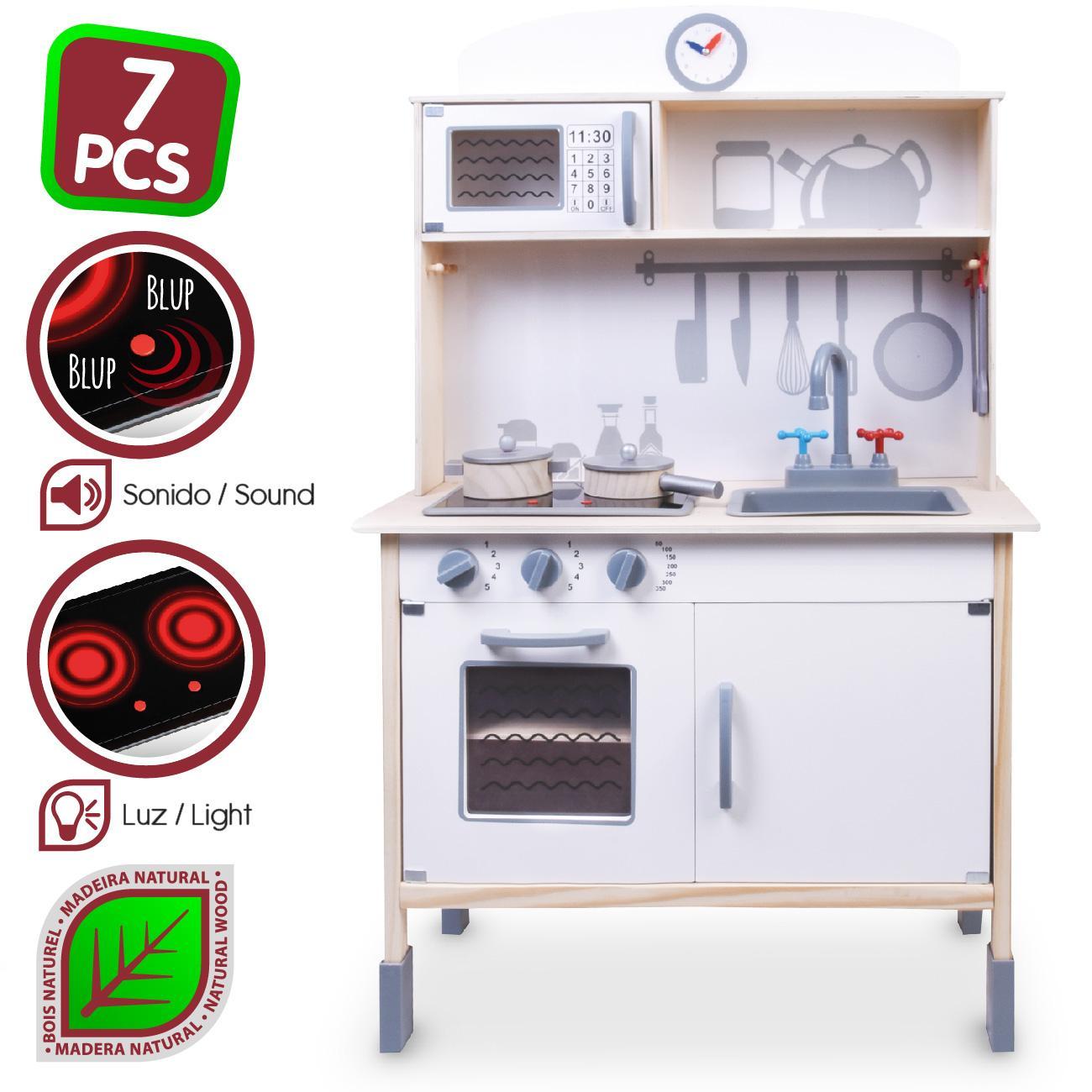 WOOMAX - Cocina de madera con accesorios, luz y sonido (ColorBaby 85096)