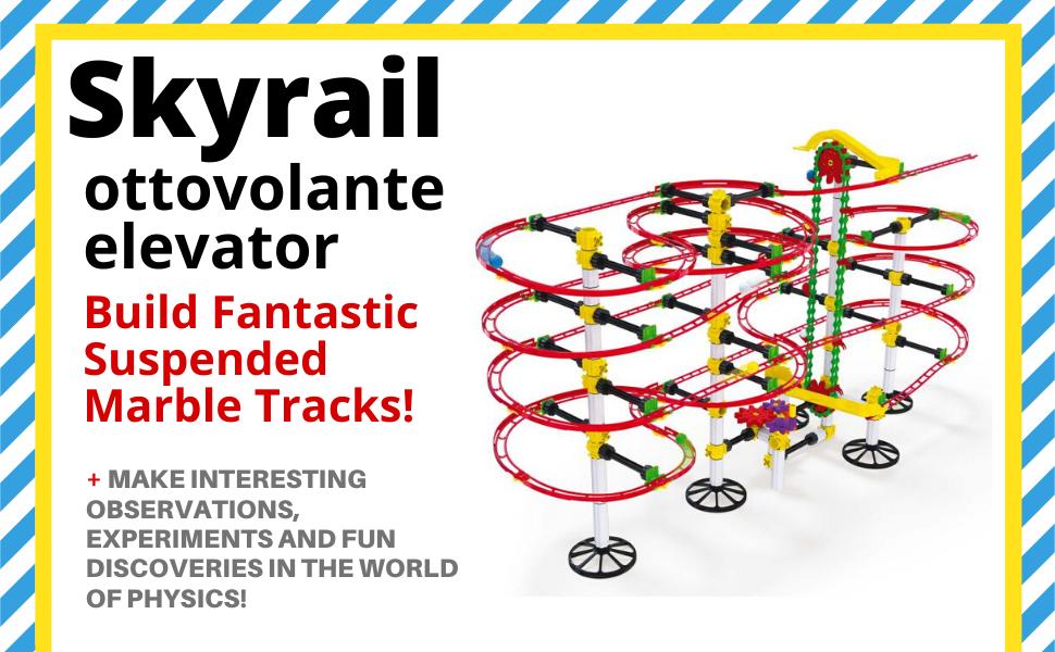 Quercetti, STEM, STEAM, Toys, Skyrail, Marble Run, Construction Set, Kids, Physics, Learning