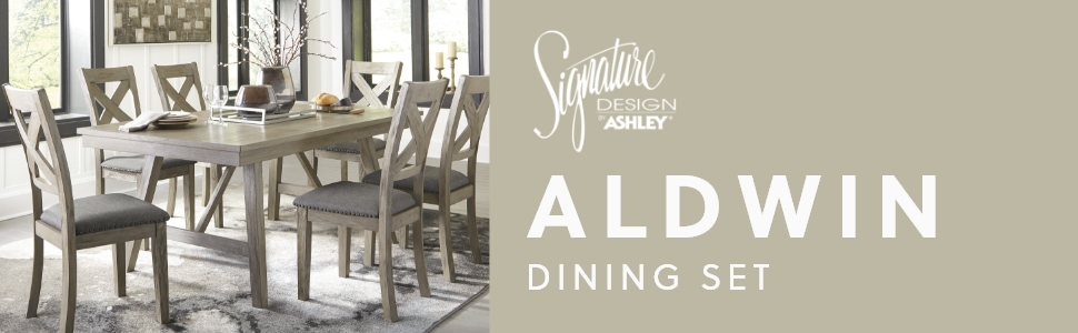 Amazon Com Signature Design By Ashley Aldwin Upholstered Dining Room Bench Beige Gray Table Benches