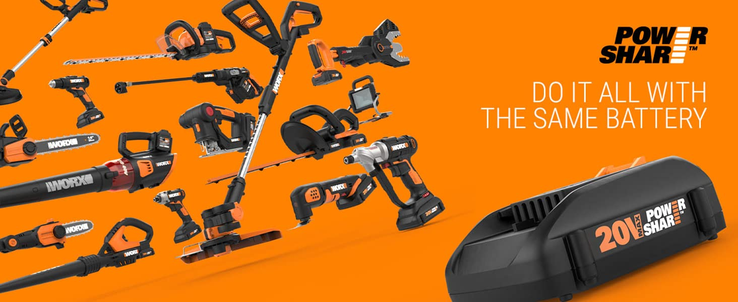 worx powershare; portable power; expandable power; cordless outdoor power; worx cordless chainsaw