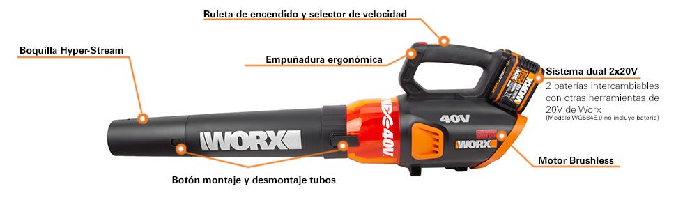 WORX WG584E Soplador de hojas 40V (220V)145km/h, 40 V: Amazon.es ...