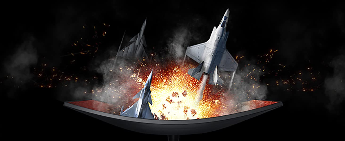 Fighter Jets emerging out of Samsung CRG5 Curved Gaming Monitor