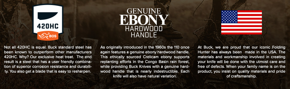 Buck knives 110 Folding Hunter Made in USA 420HC Steel Blade Genuine Ebony Handles