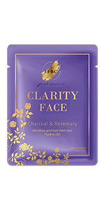 clarity, fast beauty, face mask, sheet face mask, charocal, rosemary, skincare