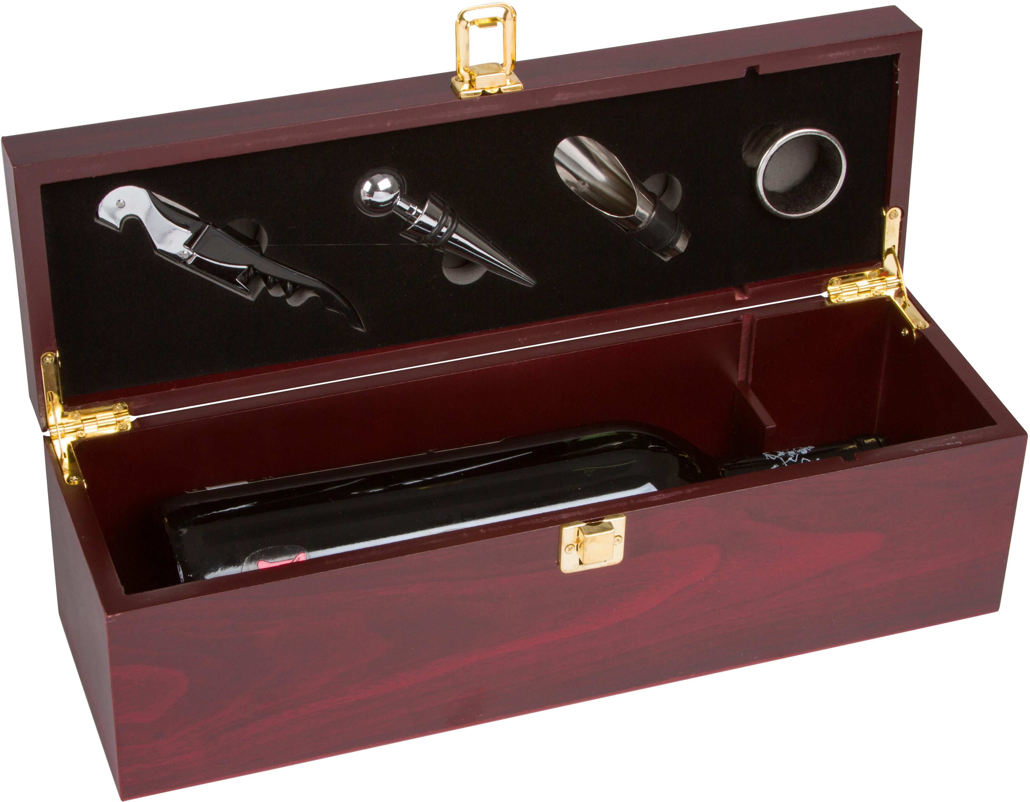 Trademark innovations treasure chest wine box wooden for 1 bottle view larger publicscrutiny Image collections