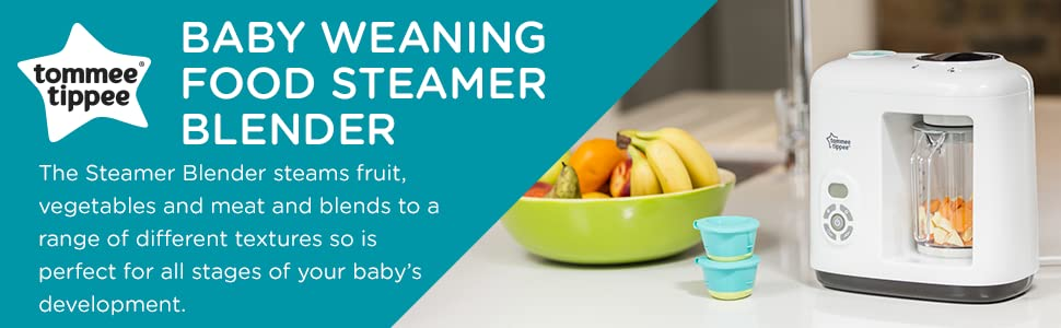 The Steamer Blender steams fruit, vegetables and meat and blends to a range of different textures so