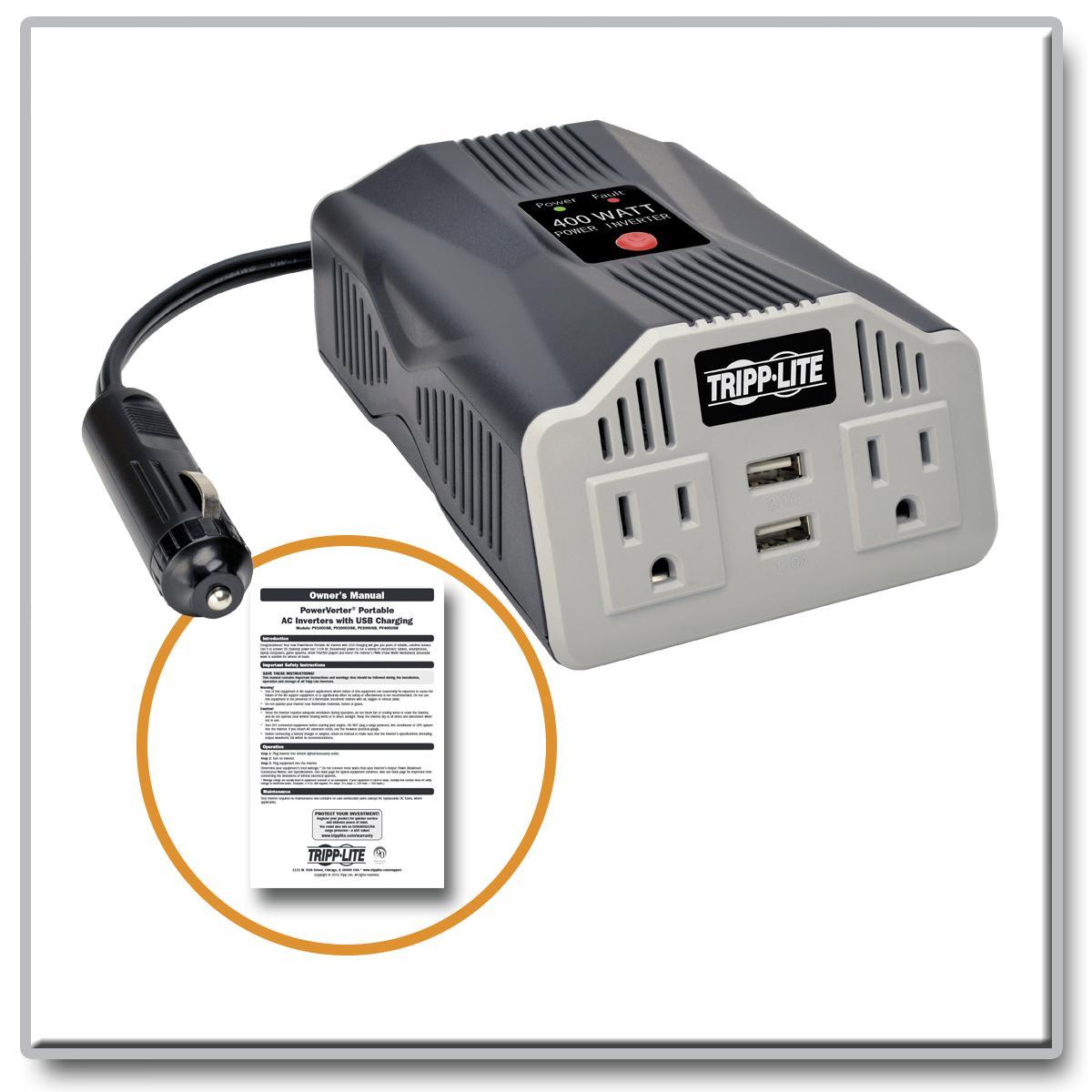 Amazon.com: Tripp Lite 400W Car Power Inverter with 2