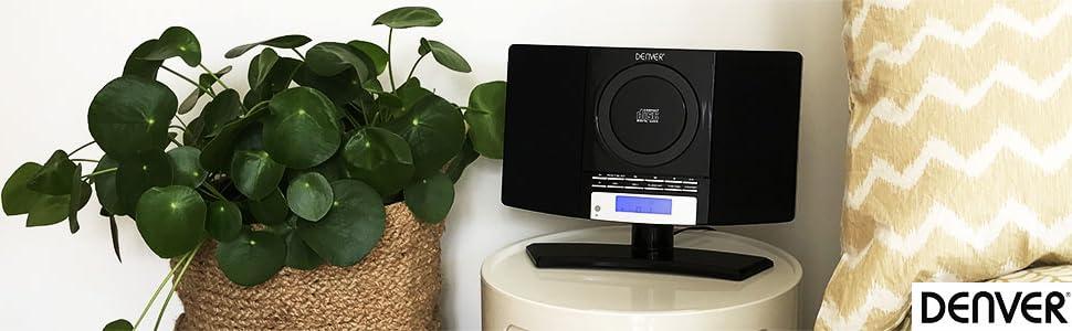 Denver Mc 5220 Black Cd Player Stereo Wall Mountable Music