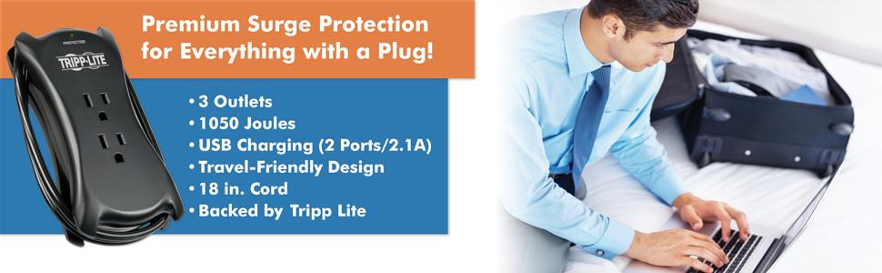 Tripp Lite 3-Outlet 2 USB Surge Protector FBA/_TRAVELER3USB
