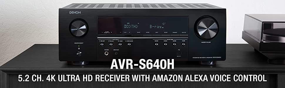 Denon AVR-S640H Audio Video Receiver, 5 2 Channel 4K Ultra HD Home Theater  Surround Sound and Music Streaming System - Wi-Fi, Bluetooth, Airplay,