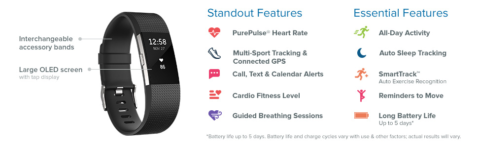 Charge 2, fitness tracker, heart rate, sleep tracking, guided breathing, display screen