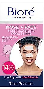 biore nose + face strips blackhead removal oily skin