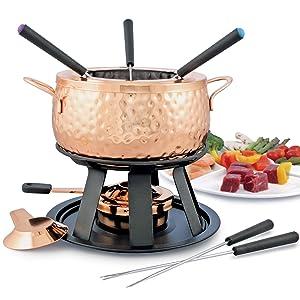 Biel 11 Pc Copper Fondue Set - Oil and Broth Capable