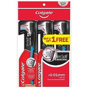 colgate;slimsoft;ultrasoft ;slimtip;softbristles;bacteria;plaque;gentle;clean;toothbrush;charcoal