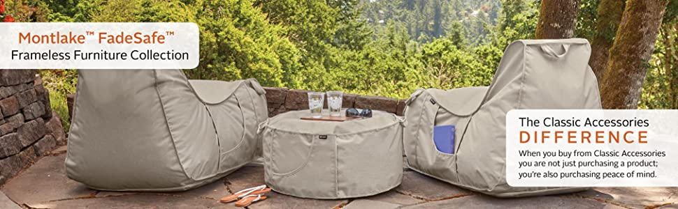bean bag chair, bean bag, bean bags, patio furniture, patio furniture chair - Amazon.com : Classic Accessories Montlake FadeSafe Frameless