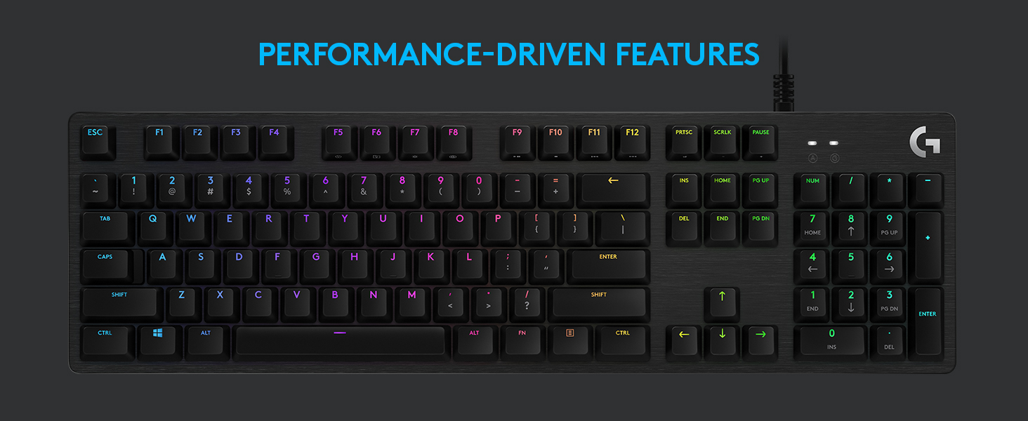 Amazon Com Logitech G512 Se Lightsync Rgb Mechanical Gaming Keyboard With Usb Passthrough Black Computers Accessories
