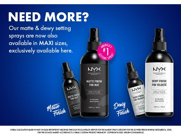 nyx setting spray matte dewy extra large maxi size