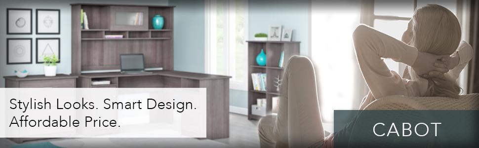 Amazon Com Bush Furniture Cabot Corner Desk In Heather