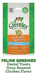Feline Greenies Dental Treats Oven Roasted Chicken Flavor, Chicken Cat Treats, Greenies for Cats