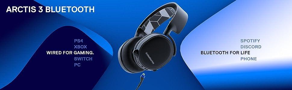 SteelSeries Arctis 3 Bluetooth, cuffie da gioco wireless, surround 7.1 per PC