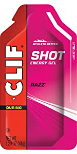 CLIF SHOT ENERGY GELS RAZZ RASPBERRY CLIF BAR