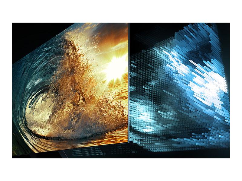 Screen split showing LED brightness of a wave crashing
