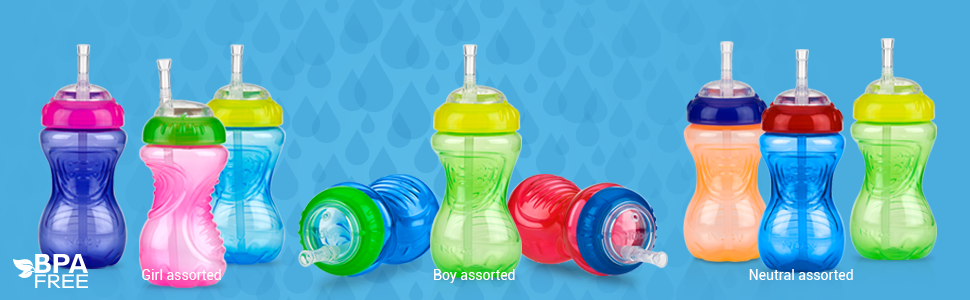 Nuby 3 Piece No-Spill Cup with Flex Straw, 10 Ounce
