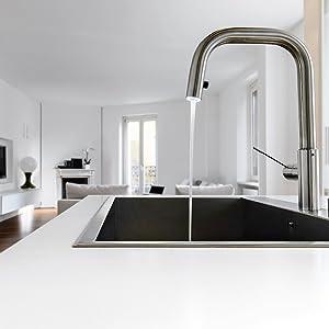 kitchen, stove, tap, sink, pantry, cabinets, counter, island, vacuum, range hood