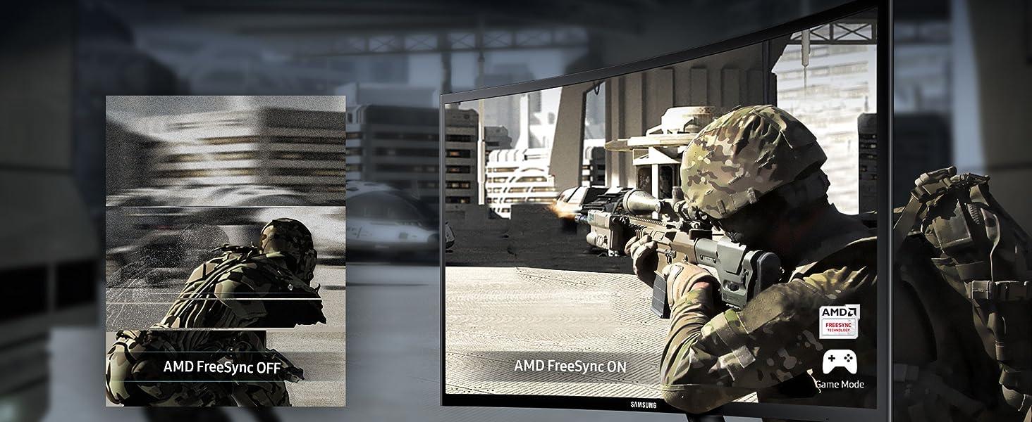 "AMD FreeSync on in Samsung 390 Series 27"" Curved Monitor vs AMD FreeSync off"