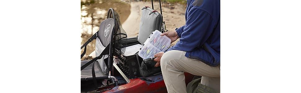Kayak Tackle Box, plano tackle box, hobie kayak, kayak fishing, kayak fishing gear, kayak milk crate