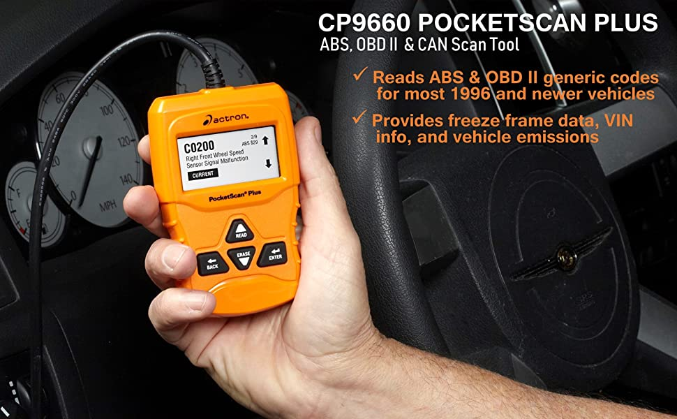Actron CP9660 Pocketscan Plus ABS OBD II 2 CAN Scan Tool Diagnostic Testing Check Engine Light