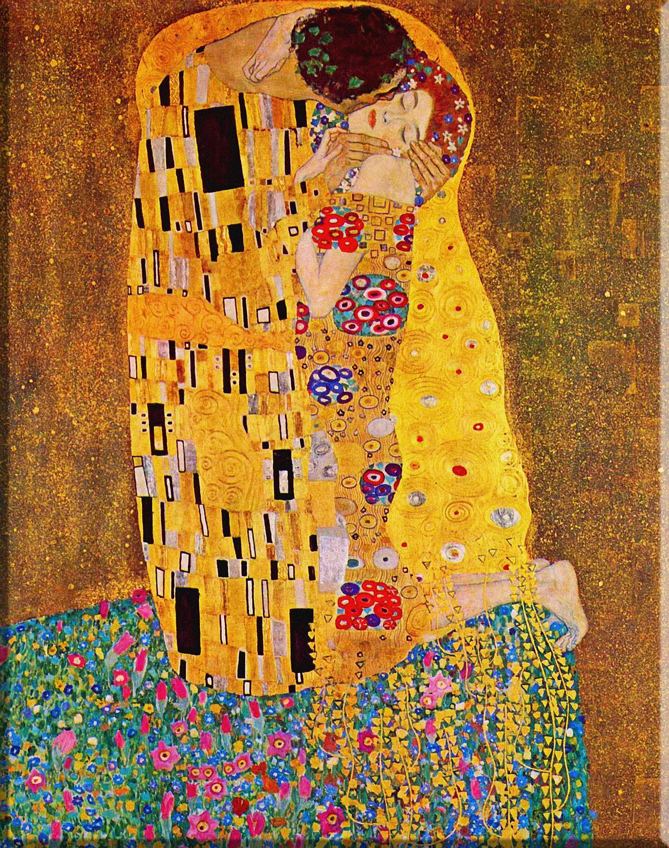 Quadri L&C ITALIA Klimt Il bacio Quadro artigianale su tela 30 x 83 ...