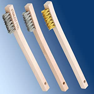 PFERD 85059 Wooden Handle Laced Back Welder/'s Toothbrush Scratch Brush.006 Stainless Steel Pack of 36 7 x 7 Wire Rows