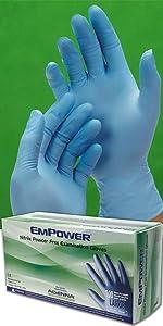 Empower Nitrile Blue Disposable Gloves 8mil Adenna
