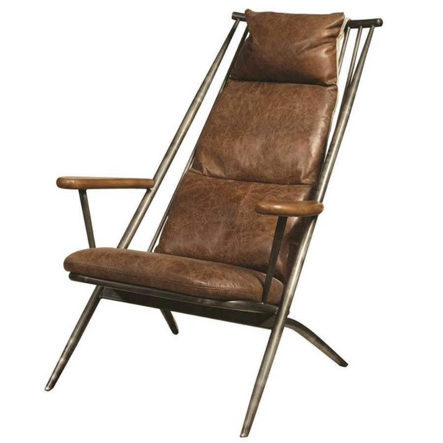 Brenna Metal Frame Accent Chair  sc 1 st  Amazon.com & Amazon.com: Pulaski P006204 Modern Industrial Metal and Leather ...