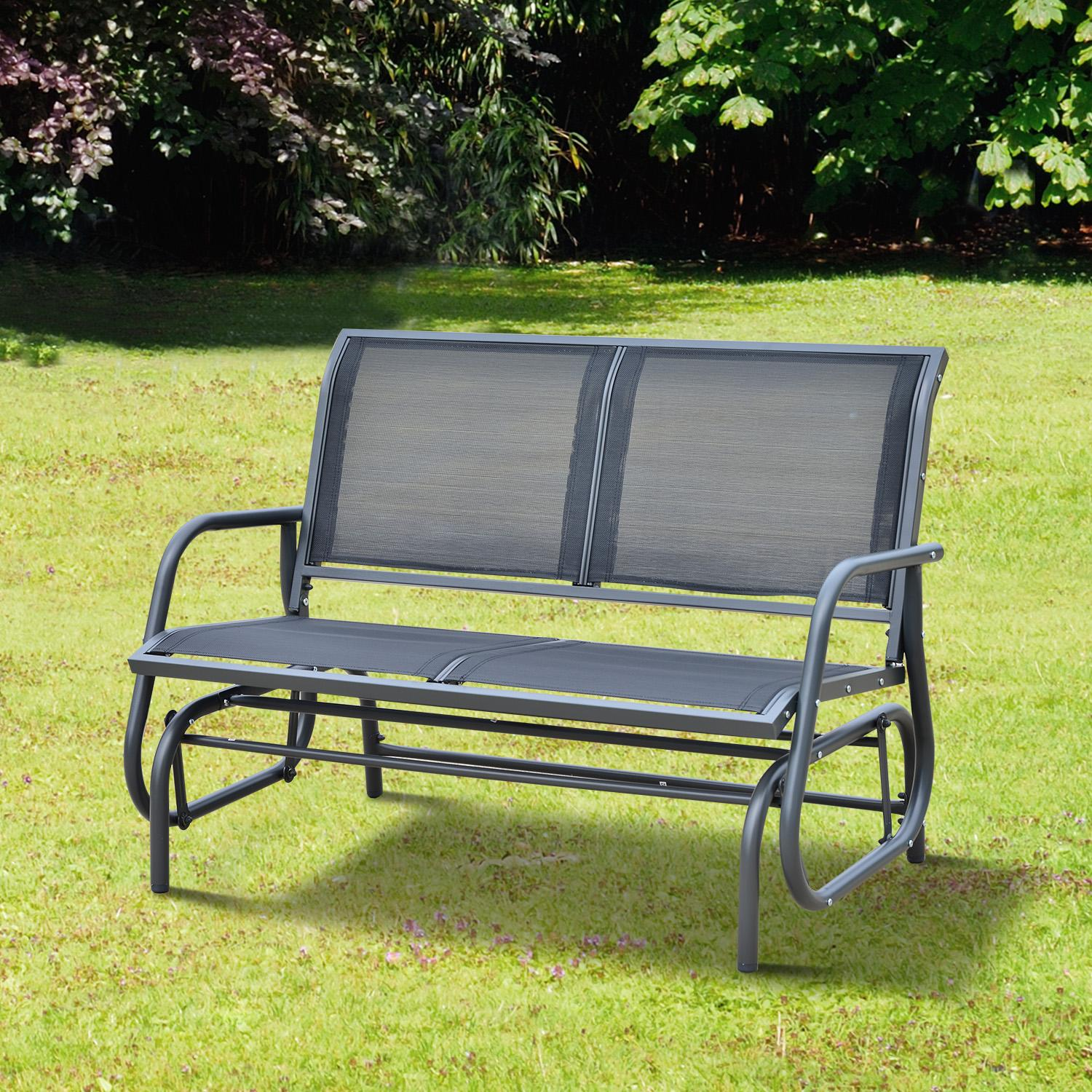 Outsunny 48 outdoor patio swing glider bench for Outdoor furniture glider