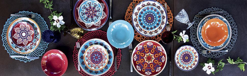 SERVICE SHIRAZ 6 places de table. En porcelaine et grès.