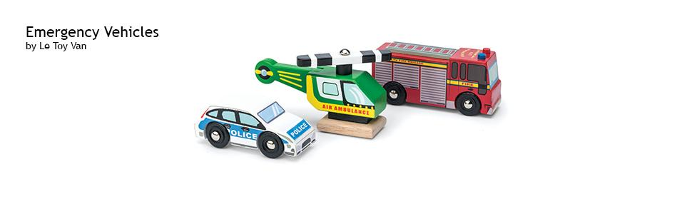Le Toy Van Cars & Construction Wooden Emergency Vehicle Set Car Toy Play Set Set 3 Cars | Play Vehicle Kids Role Play Toys Suitable For 2 Year