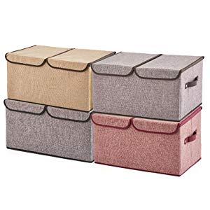EZOWare Caja de almacenaje con doble tapa y divisor interior para almacenar ropa, juguetes, suministros y mas