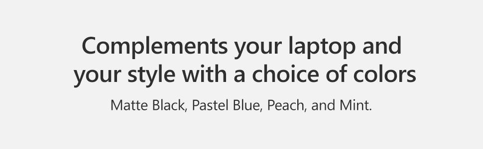 Black, Blue, Peach, Mint