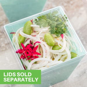 Pair these mini appetizer cups with their coordinating lids to prevent messes when serving guests.