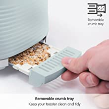 Removable Crumb Tray green dune toaster