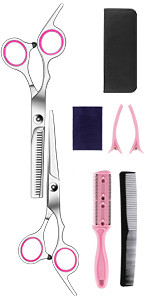 SQKIT Professional Hairdressing Scissors Set - Package includes Barber Scissor, Thinning Shear, St