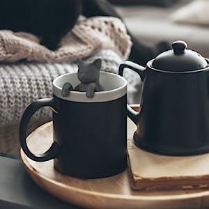 cat, kitty, purr, grey, gray, tea, tea infuser, tea, loose leaf, mug, fred, silicone, cute, mug