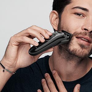 Para barbas cortas o medias y corte de pelo
