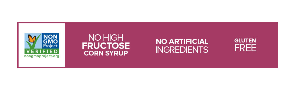 non-gmo project verified, no high fructose corn syrup, no artificial ingredients, gluten free