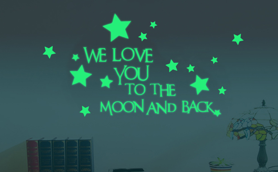 Creative Moon Luminous Wall Stickers Fluorescent Kids Bedroom Decor Small L/&6