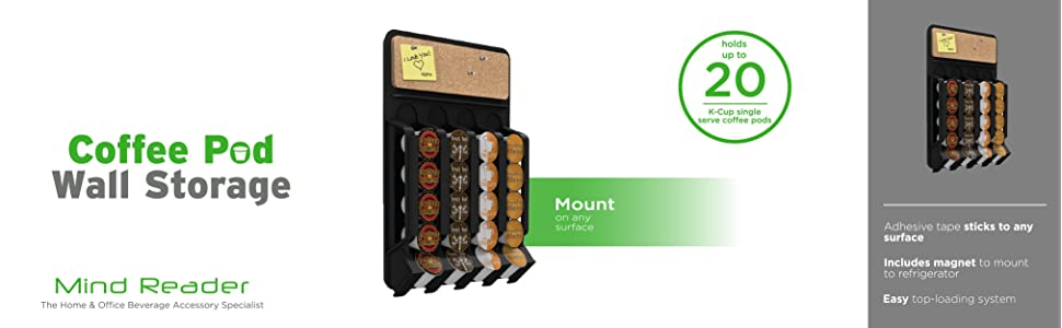 coffee pod dispenser, coffee pods, k-cups, pods, magnet, adhesive, wall mount, single serve, cork